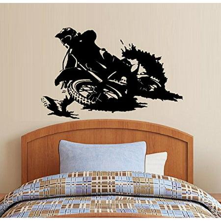 """Decal ~ Motocross, Dirt Bike ~ Children Boys room #2 Wall Decal  20"""" x 27"""""""