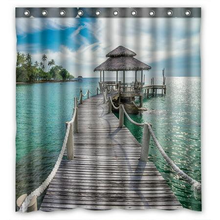 PHFZK Ocean Theme Shower Curtain, Long Wooden Bridge in Beautiful Tropical Island Beach Polyester Fabric Bathroom Shower Curtain 66x72 inches - Beach Theme Ideas