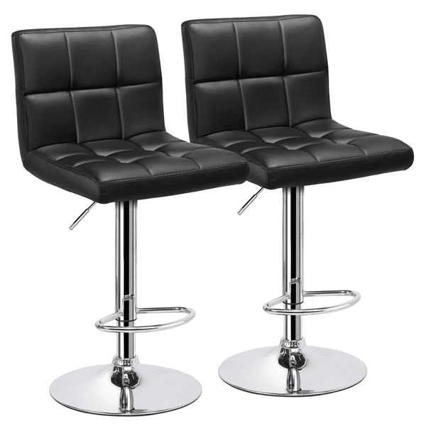 Adjustable Swivel Bar Stool Leather with Backrest Kitchen Breakfast Chair 1//2Pcs