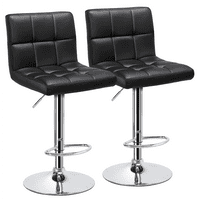 2pcs X-Large Bar Stools Adjustable Modern PU Leather Swivel Stool Chair with Backrest