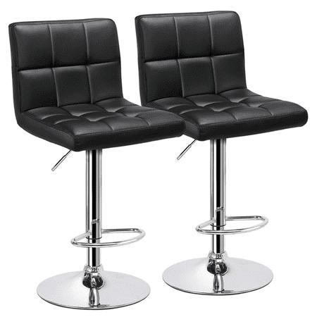2pcs X-Large Bar Stools Adjustable Modern PU Leather Swivel Stool Chair with Backrest Black