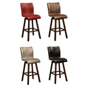 Montgomery Sleek Upholstered Sculpted Swivel Bar Stools (Set of 2) Black