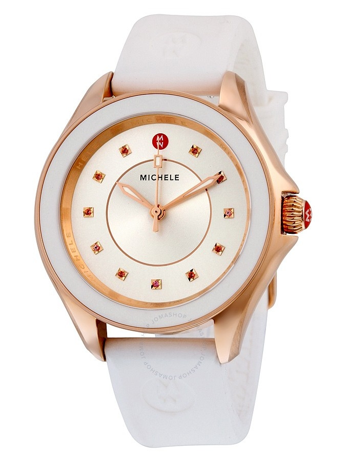 Michele Cape Sunray Dial White Silicone Ladies Watch MWW27A000004