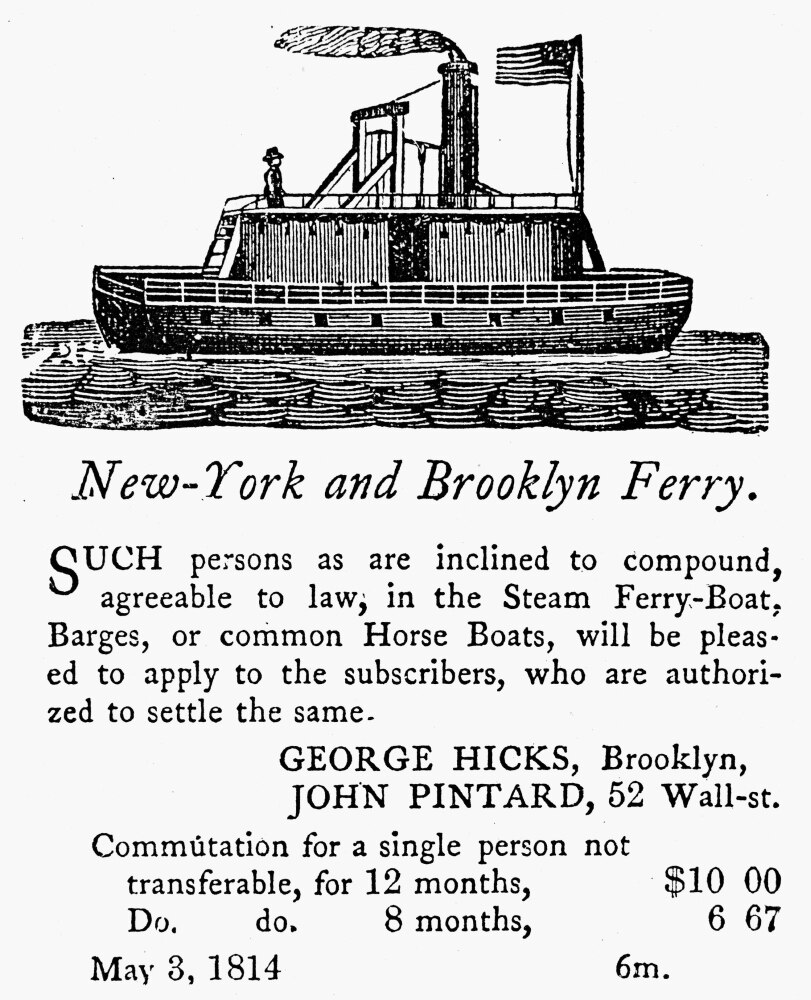Brooklyn Ferry, 1814. /Nadvertisement, 1814, For