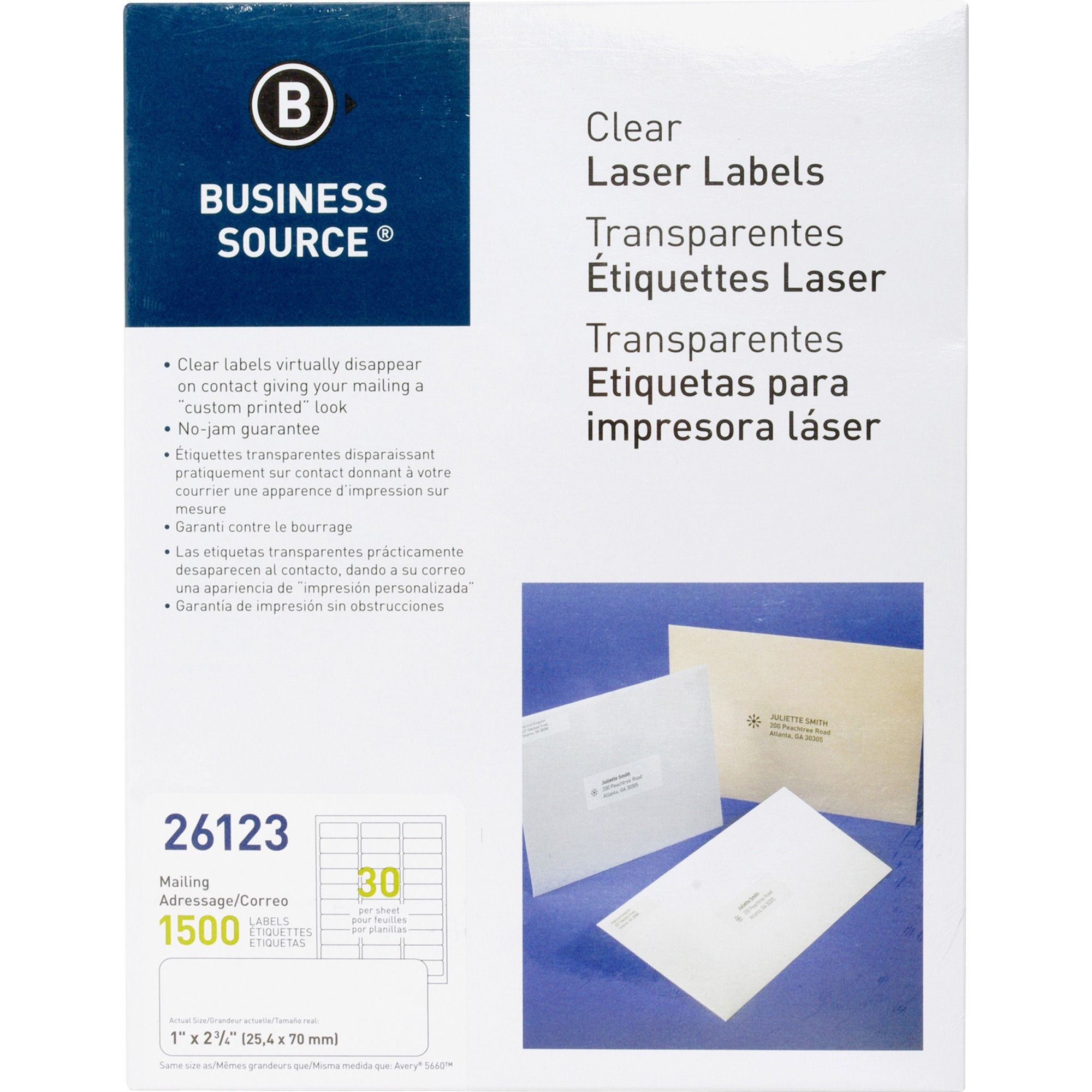 Business Source, BSN26123, Clear Laser Print Mailing Labels, 1500 / Pack, Clear