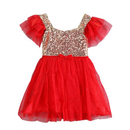 - StylesILove Gold Sequin Tulle Flower Girl Dress, 5 Colors  (2-3 years / 120, Red)