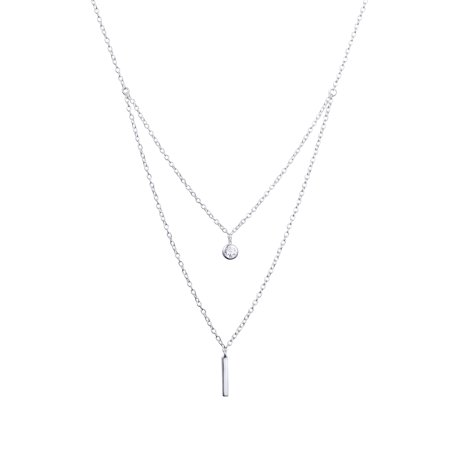 Sterling Silver Double Layer Vertical Bar & CZ (Sterling Silver Layered Charm Necklace)