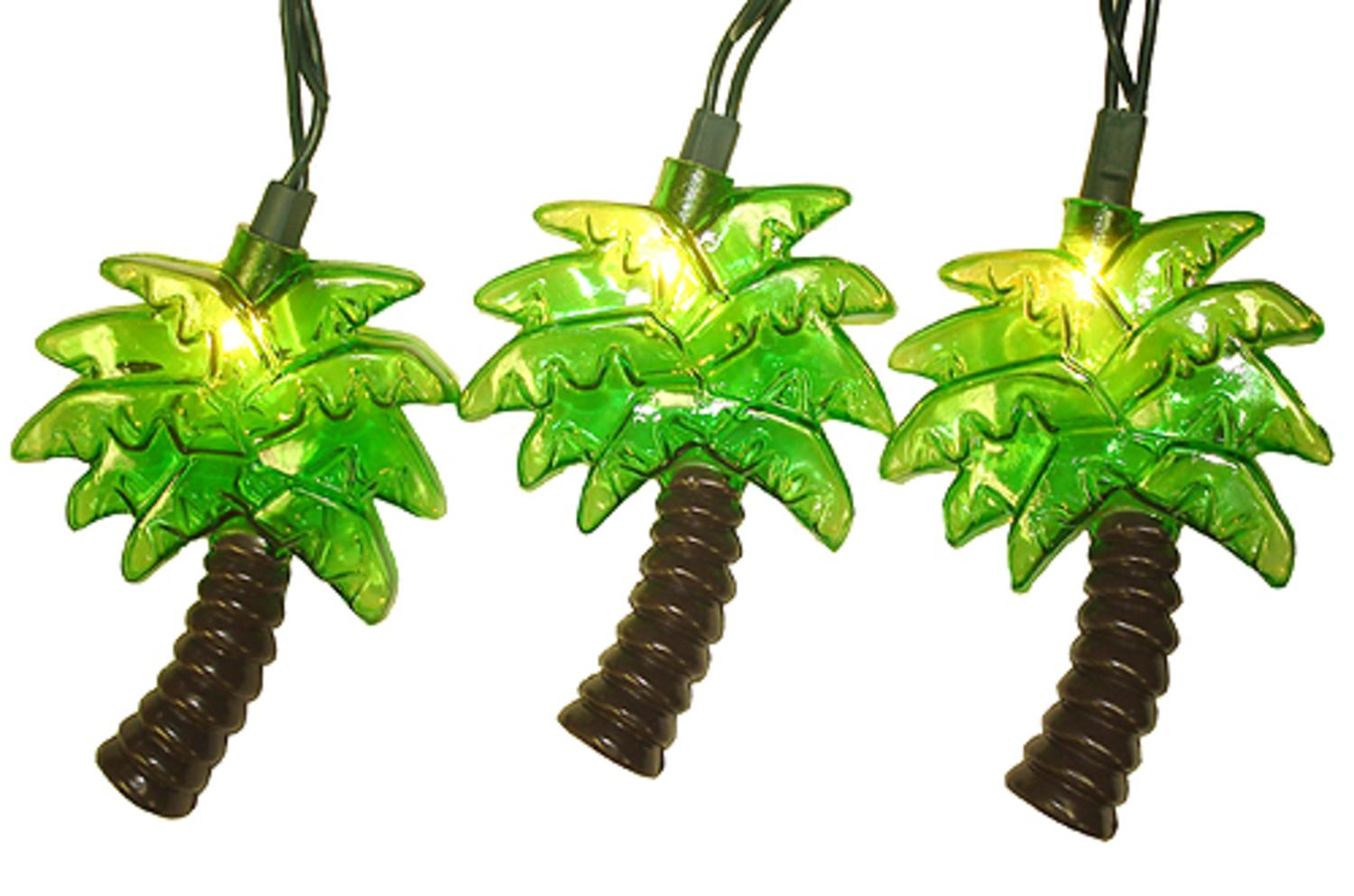Set Of 10 Tropical Green Palm Tree Patio Christmas Lights   Green Wire