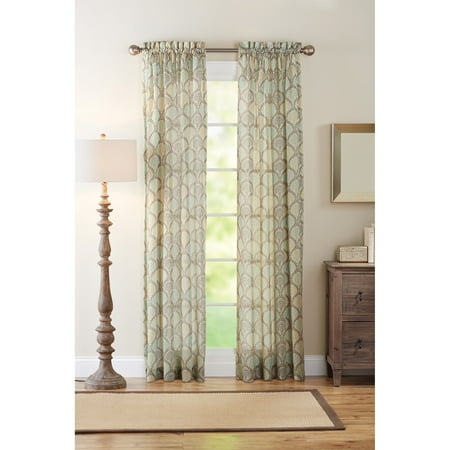 Better homes and gardens lace fan semi sheer curtain panel Better homes and gardens curtains