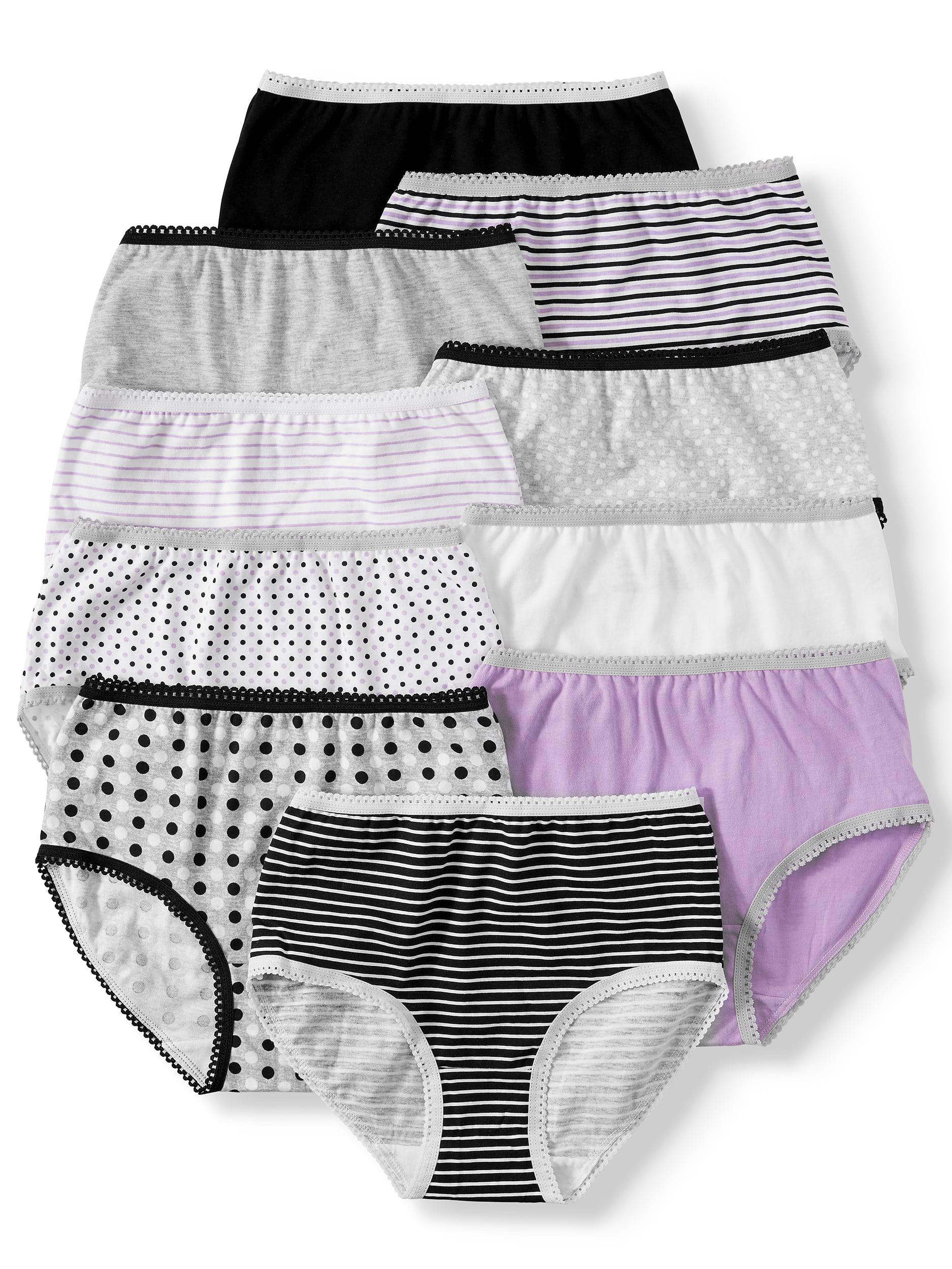 Wonder Nation Girls Brief Underwear, 10 Pack 100% Cotton Panties Sizes 4 - 16 & Plus