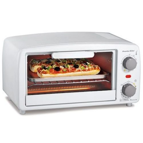 Proctor Silex Four Slice Toaster Oven - Toast, Broil, Bake - White