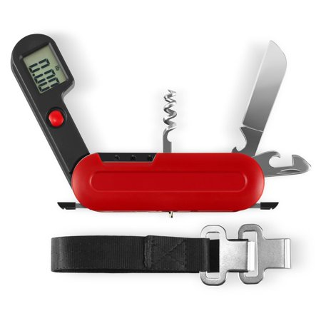 INNOKA 9-in-1 Portable Multi-Tool - Digital Scale/Corkscrew/Knife/Opener/Tweezers/SIM Card Ejector Pin/Screwdriver, Red