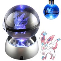 Baken 3D Crystal Ball LED Night Light with LED Keychain Laser Engraving (Sylveon)