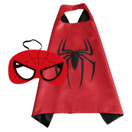 Spiderman Superhero Cape and Mask for Boys, Costume for Kids Birthday Party, Favors, Pretend Play, Dress Up Favors, Christmas Gift (Spider Girl Womens Costume)