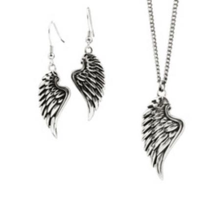 Angel Set Jewelry Set (Stainless Steel Angel Wing Jewelry Set - Psalm 34:7)