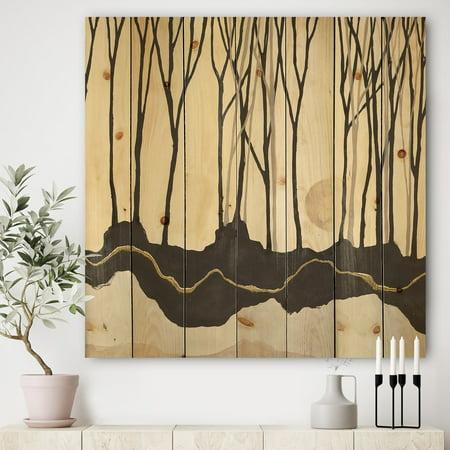 DESIGN ART Designart 'Geometric Forest' Farmhouse Print on Natural Pine Wood - (Black Forest Wood)