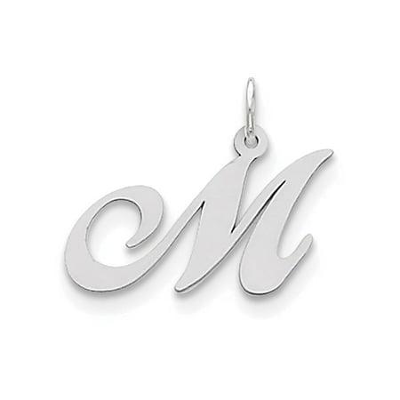 Finejewelers Sterling Silver Medium Fancy Script Initial M Charm