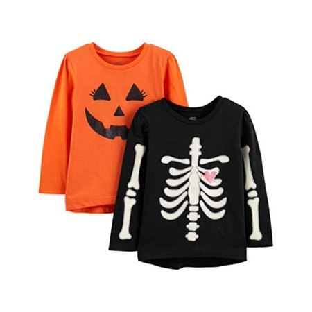 Simple Homemade Adult Halloween Costumes (Simple Joys by Carter's Girls' Toddler 2-Pack, Pumpkin/Skeleton, Size)