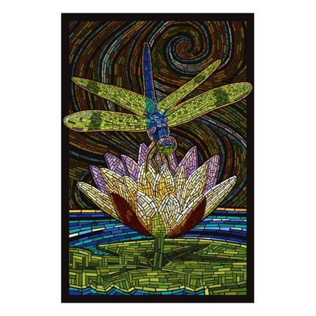Dragonfly - Paper Mosaic Print Wall Art By Lantern Press