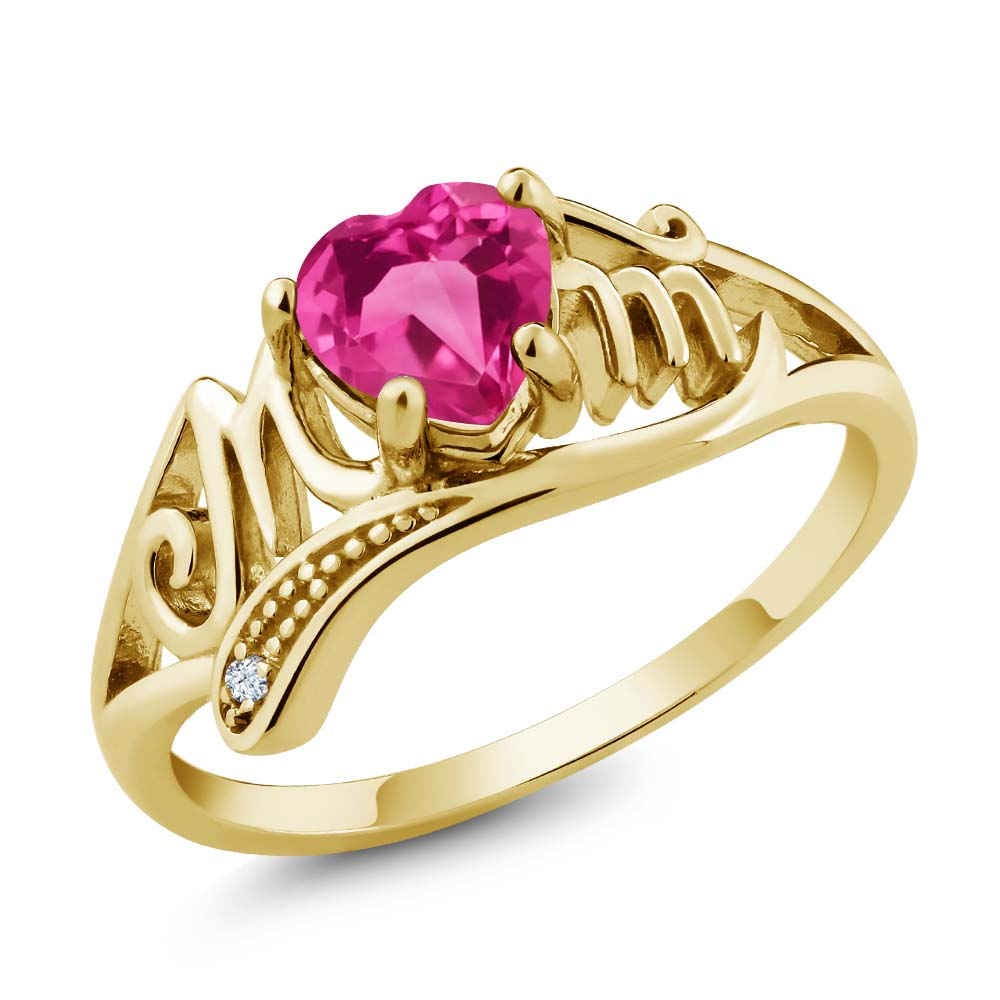 1.08 Ct Heart Shape Pink Created Sapphire 14K Yellow Gold Ring by