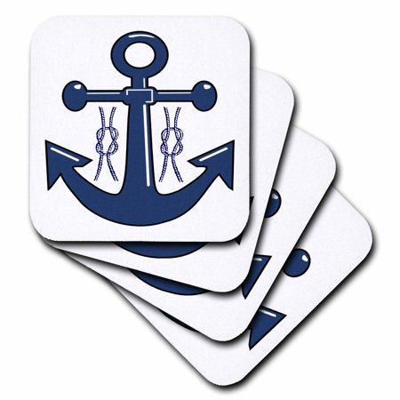 3dRose Navy Blue Anchor n Nautical Knots, Ceramic Tile Coasters, set of 4