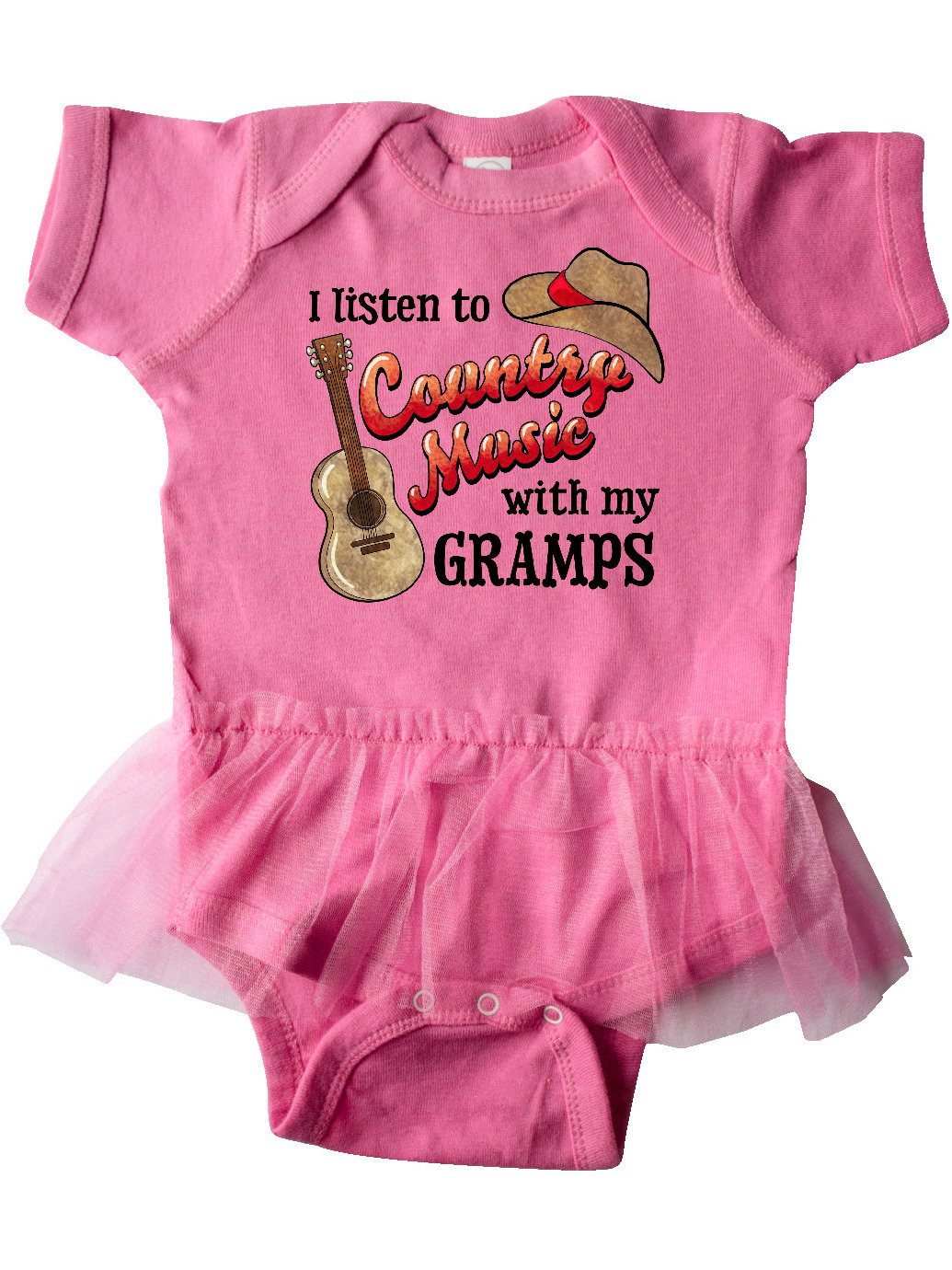 inktastic I Listen to Country Music with My Dad Guitar and Infant Tutu Bodysuit