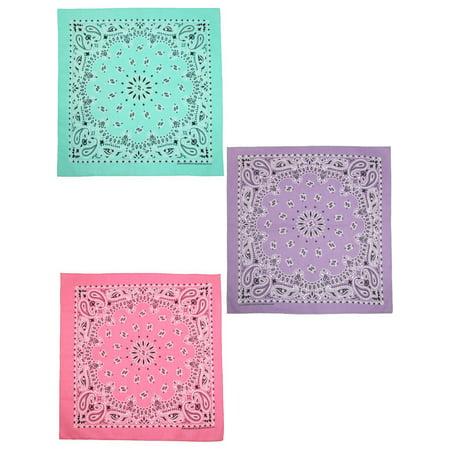 Size one size Women's Cotton Pastel Paisley Print Bandana Kit (Pack of 3), Mint, Lavender, - Lavender Bandana