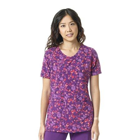CROss-FLEX by Carhartt Women's Y-Neck Floral Print Scrub Top