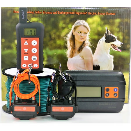 Two-dog Set: Remote Dog Training Shock Collar & Underground/ In-ground Electronic Dog Containment Fence System Combo for Small,Medium,Large