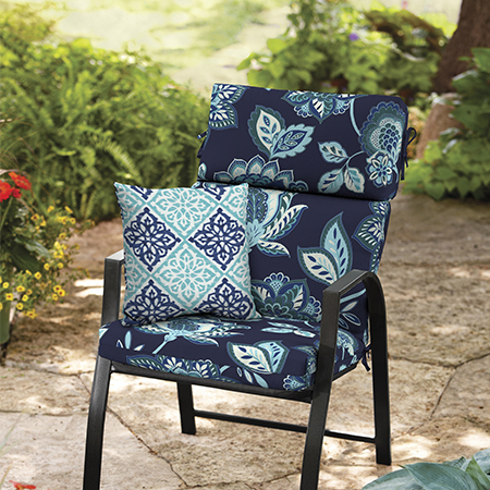 Better Homes and Gardens Toile Jacobean Navy and Diamond Tile Outdoor Cushion Collection
