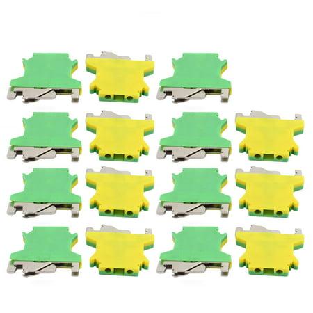 15Pcs 43x40x6mm 2.5mm2 Wire Universal Grounding Terminal Block Yellow Green - image 2 of 2