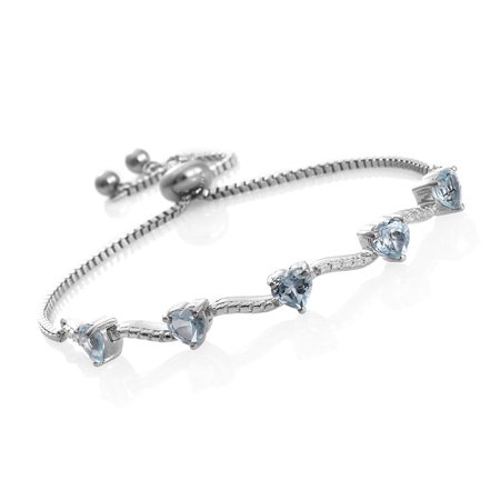 Sky Blue Topaz Platinum Theme Bolo Heart Valentines Bracelet for Women Cttw 2.2 Size Adjustable