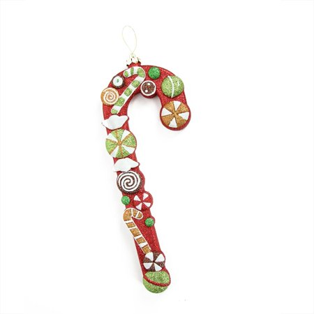 """14"""" Merry & Bright Large Multi-Colored Glittered Shatterproof Candy Cane Christmas Ornament"""