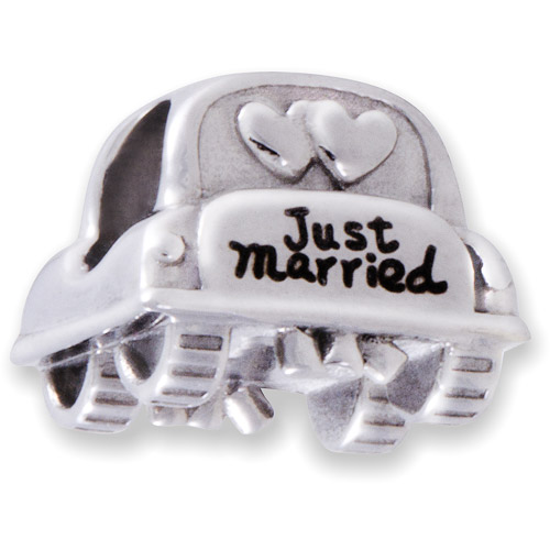 """Connections from Hallmark Multi-Crystal Stainless Steel """"Just Married"""" Car Charm"""
