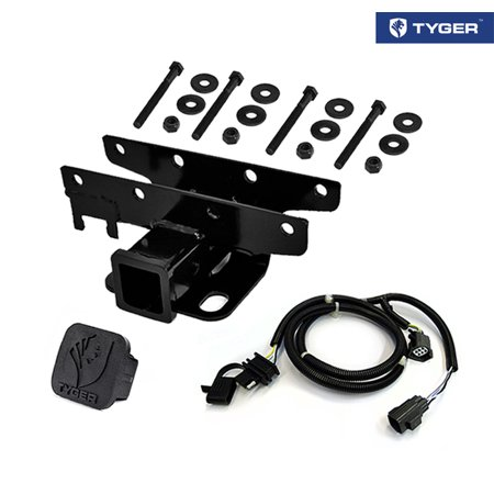 Tyger Auto TG-HC2J001K Towing Combo: 2inch Receiver Hitch & Wiring Harness & Hitch Cover Fits 2007-2016 Wrangler JK (2Dr & 4Dr)