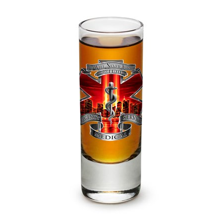 High Grass (Shot Glasses – EMT Paramedic Gifts for Men or Women –Tribute High Honor Red EMS Shot Glasses – Emergency Medical Services Glass Shot Glasses with Logo - Set of 6 (2 Oz) )