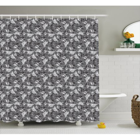 Pirates Shower Curtain, Greyscale Pattern Dead Man Skulls with Hat and Eye Patches and Doodle Outlines, Fabric Bathroom Set with Hooks, 69W X 70L Inches, Grey Pale Grey, by Ambesonne