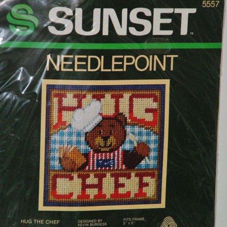 Sunset Needlepoint Small Mini Kit Hug The Chef Vintage 1984 Bear Cooking (Vintage Needlepoint)
