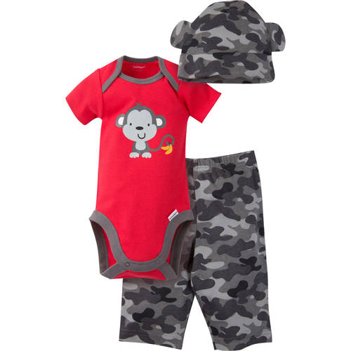 Gerber Newborn Baby Boy Bodysuit, Pant and Cap Outfit Set, 3-Piece