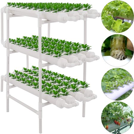 VEVOR Hydroponic Site Grow Kit 3 Layers 108 Plant Sites 12 Pipes Water Culture Garden Plant System (108 Plant Sites, 3