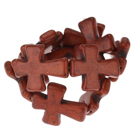 Strand Turquoise Cross - 1 Strand, Turquoise Red Brown Cross Spacer Loose Beads 3.7cmx3cm,40.5cm (16'')