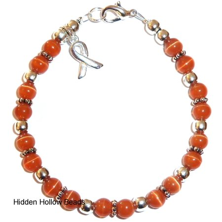 Leukemia Bracelet - Orange Cancer Awareness Bracelet by Hidden Hollow Beads - 7 3/4 in. - Fits Most Adults - Lobster Clasp