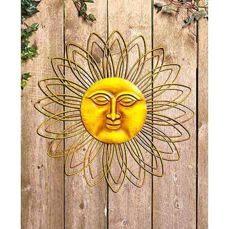 Metal Wall Sun Face Yellow