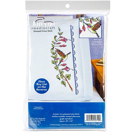 "Hummingbird Pillowcase Pair Stamped Cross Stitch, 20"" x 30"""