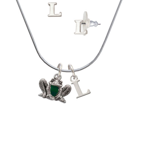 Frog Front - L Initial Charm Necklace and Stud Earrings Jewelry Set