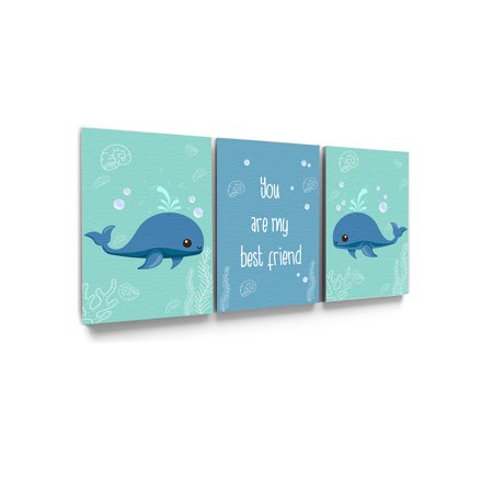 Awkward Styles You Are My Best Friend Canvas Art Motivational Prints Kids Room Wall Art Sea Art Whale Illustration Inspirational Set of 3 Newborn Baby Room Wall Decor Sea Wallpapers Made in