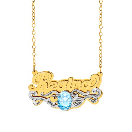 Personalized Sterling Silver or 14K Gold Over Sterling Silver Oval-Shaped Birthstone Nameplate Necklace with Beading and Rhodium on Tail with an 18 inch Link Chain