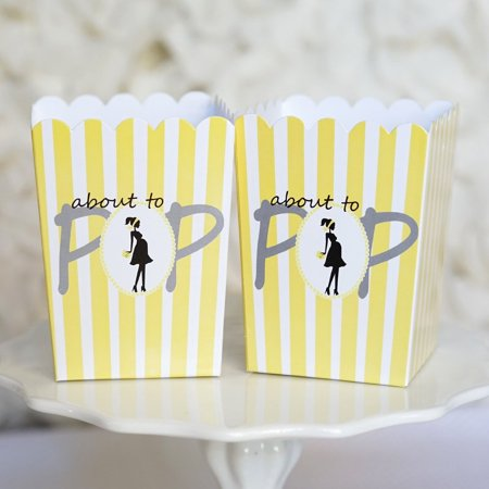 Yellow Striped About to Pop Baby Shower Boxes Boy or Girl Popcorn Favor Ready to Pop- Set of - Baby Shower Favor Bags And Boxes