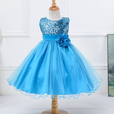Sky Blue Children Girls Sequins Grenadine Bubble Princess One-piece Dress - image 1 of 7