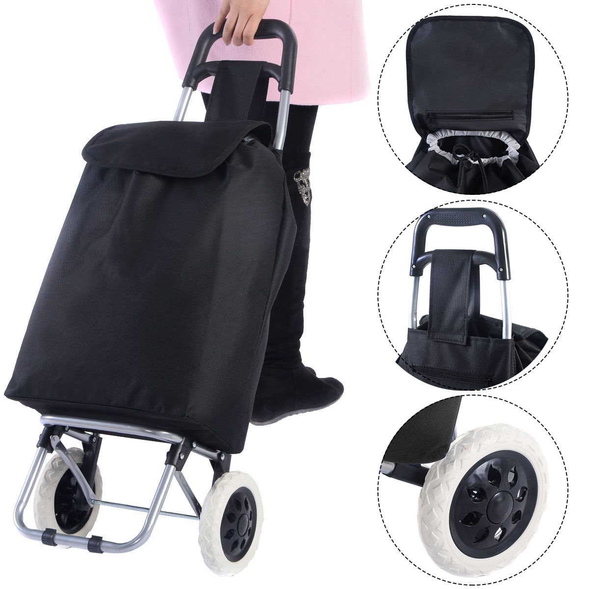 Costway Light Weight Wheeled Shopping Trolley Push Cart Bag